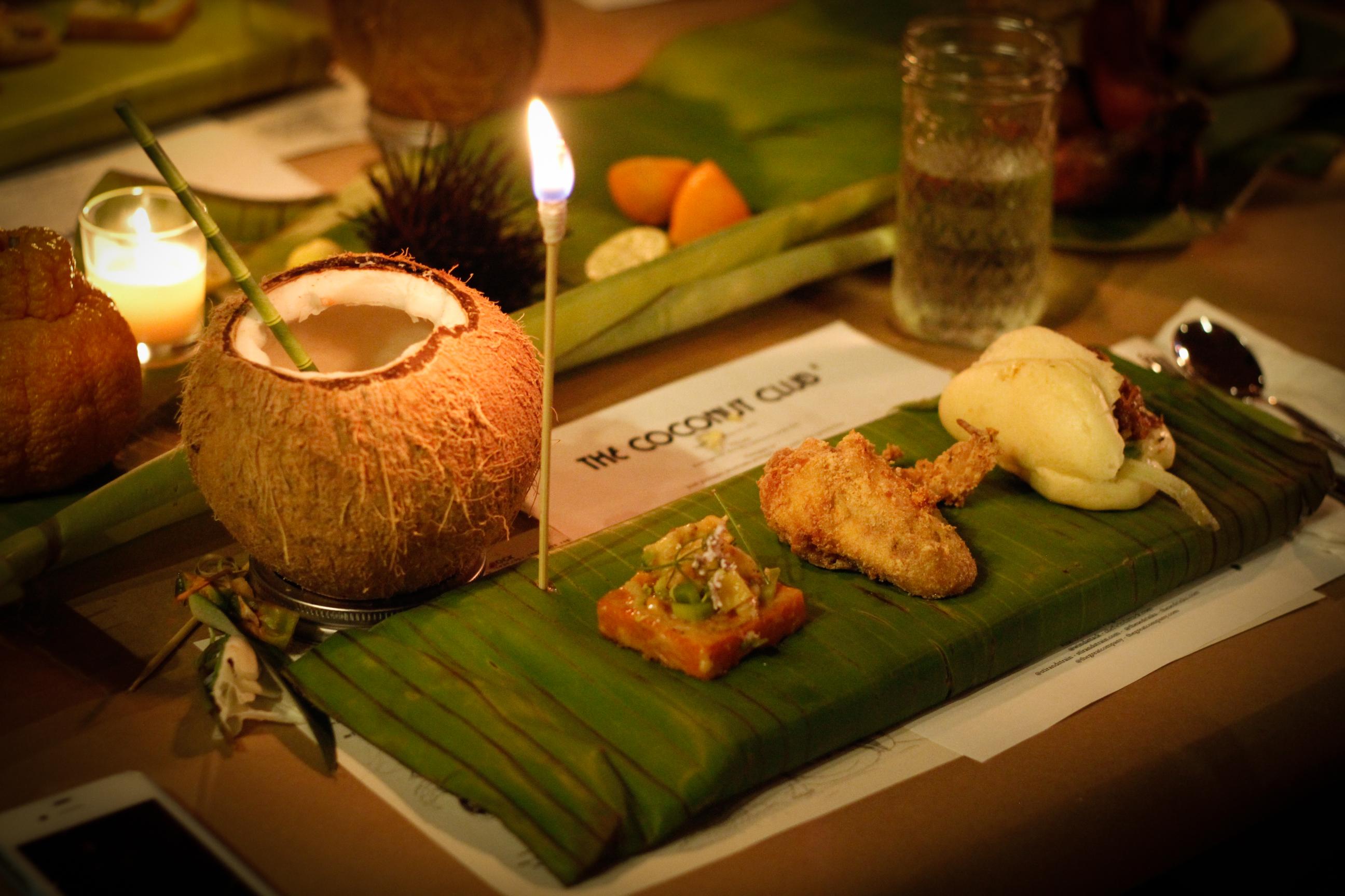 coconut yam, duck fat chicken wing, duck confit bao